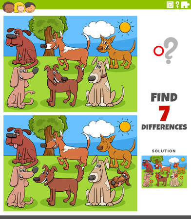 Illustration pour Cartoon Illustration of Finding Differences Between Pictures Educational Game for Children with Comic Dogs Group - image libre de droit
