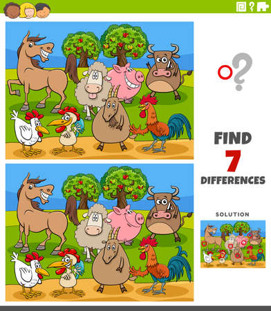 Illustration pour Cartoon Illustration of Finding Differences Between Pictures Educational Game for Children with Comic Farm Animals Characters - image libre de droit