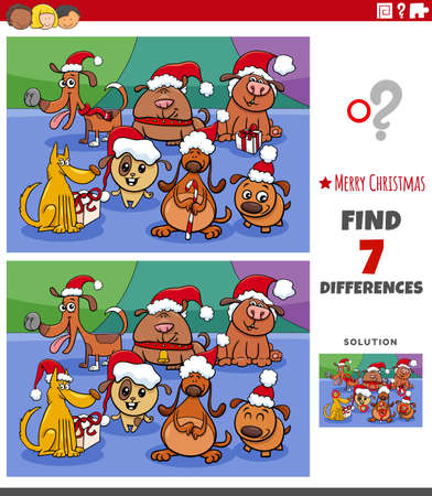 Illustration pour Cartoon illustration of finding differences between pictures educational game for children with cute dogs group on Christmas time - image libre de droit