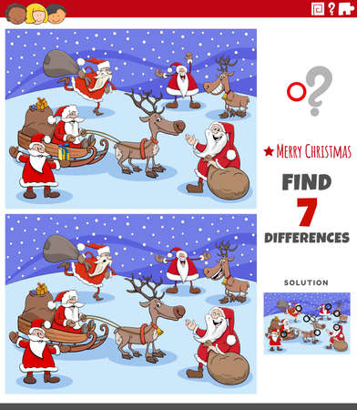Illustration for Cartoon illustration of finding differences between pictures educational game for children with Christmas characrters - Royalty Free Image