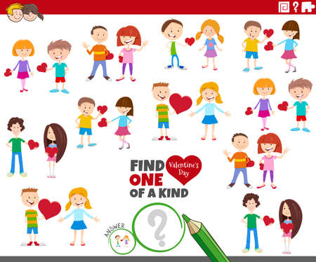 Illustration pour Cartoon illustration of find one of a kind picture educational game with girls and boys at Valentines day - image libre de droit