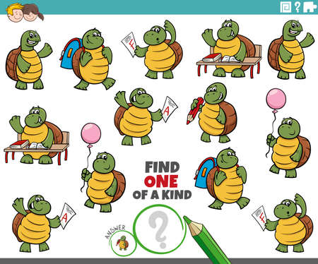 Illustration pour Cartoon illustration of find one of a kind picture educational game with turtles student characters - image libre de droit