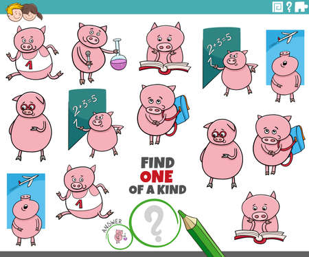 Illustration pour Cartoon illustration of find one of a kind picture educational game with funny piglets student characters - image libre de droit