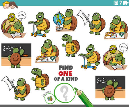 Illustration pour Cartoon illustration of find one of a kind picture educational game with funny turtles student characters - image libre de droit