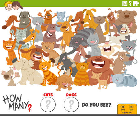 Foto de Illustration of educational counting game for children with cartoon cats and dogs characters - Imagen libre de derechos