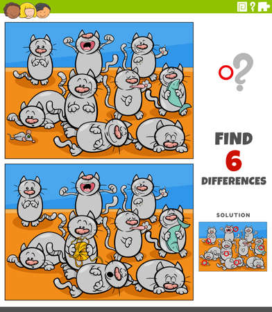 Illustration pour Cartoon illustration of finding the differences between pictures educational game for children with cats animal characters group - image libre de droit