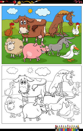Illustration pour Cartoon illustration of funny farm animals characters group on the pasture coloring book page - image libre de droit
