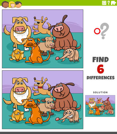 Illustration for Cartoon illustration of finding the differences between pictures educational game for children with funny dogs animal characters group - Royalty Free Image