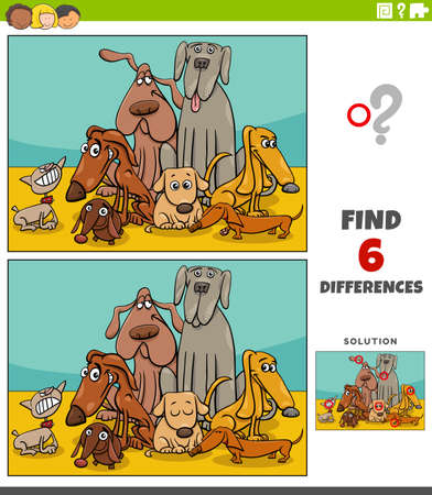 Illustration pour Cartoon illustration of finding the differences between pictures educational game for kids with dogs animal characters group - image libre de droit