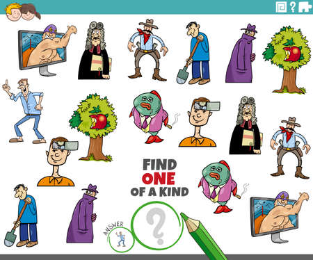 Illustration pour Cartoon illustration of find one of a kind picture educational task for children with comic characters - image libre de droit
