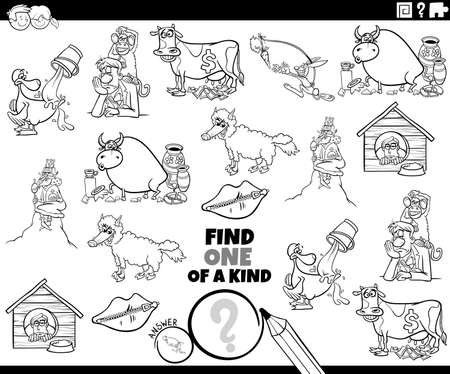 Illustration pour Black and white cartoon illustration of find one of a kind picture educational task for children with comic characters and sayings coloring book page - image libre de droit