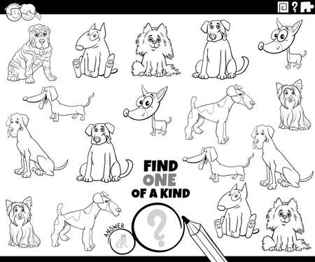 Illustration pour Black and white cartoon illustration of find one of a kind picture educational task with funny purebred dogs animal characters coloring book page - image libre de droit