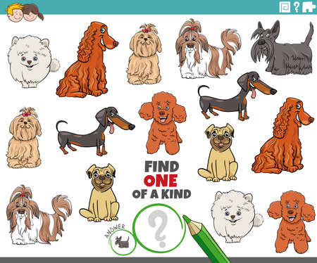 Illustration pour Cartoon illustration of find one of a kind picture educational game with funny purebred dogs animal characters - image libre de droit