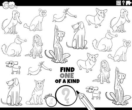 Illustration pour Black and white cartoon illustration of find one of a kind picture educational game with purebred dogs comic animal characters coloring book page - image libre de droit