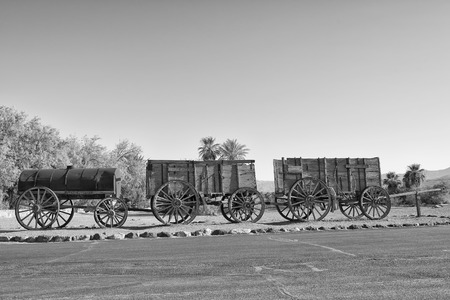 Old Far West Wagon - Black and White