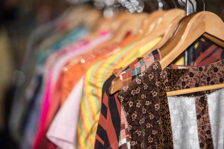 Detail of Vintage clothes for sale inside a shop