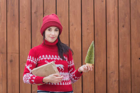 Photo pour woman in christas sweater with Christmas tree and gift close up portrait - image libre de droit