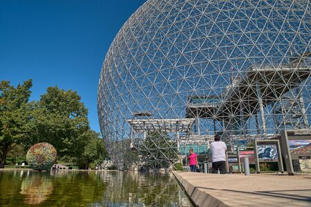 Montreal, Quebec, Canada September 14, 2018:- Biosphere Environmental Museum in Montreal. The Biosphere is a unique and spectacular site, located at Parc Jean-Drapeau in Montreal.