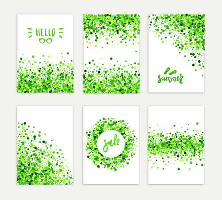 Illustration for Summer sale vector creative six greeting card set of green round particles. Scattered confetti circles. All isolated and layered - Royalty Free Image