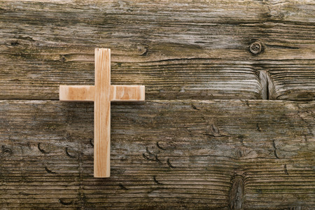 Photo for christian cross old wood on wooden  background christianity symbol - Royalty Free Image