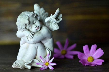 Foto de Angel guardian and flowers - Imagen libre de derechos