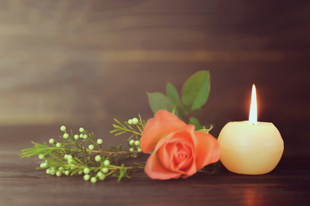 Photo for Burning candle and flowers - Royalty Free Image