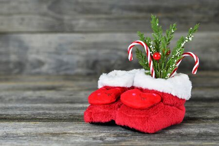 Photo for Soft red Christmas baby boots - Royalty Free Image