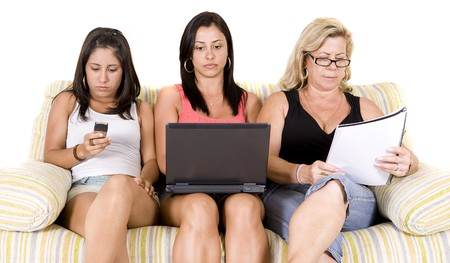 beautiful woman family sitting on the sofa