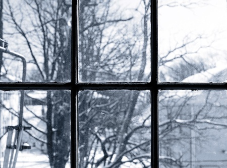 A winter scene of trees through a dirty window.