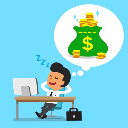 Cartoon businessman falling asleep and dreaming about money