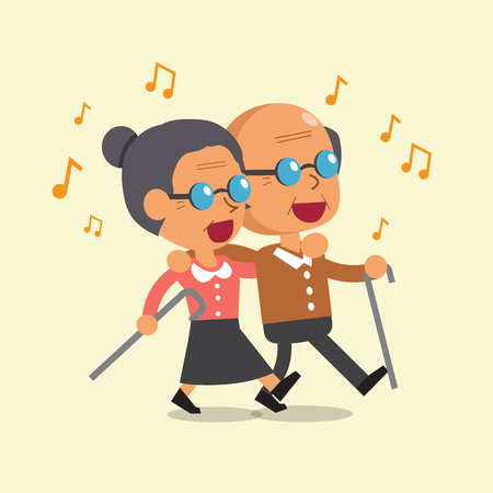 Cartoon old man and old woman walking and singing together