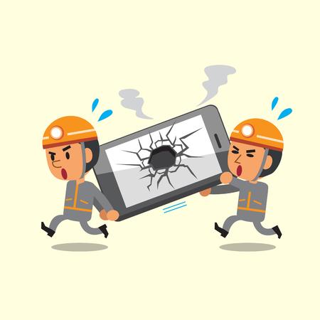 Cartoon technicians helping broken smartphone