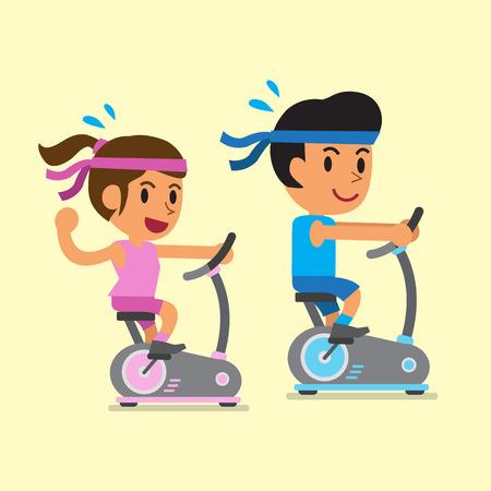 Cartoon a man and a woman riding exercise bikes