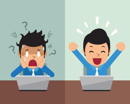 Ilustración de Cartoon businessman expressing different emotions - Imagen libre de derechos