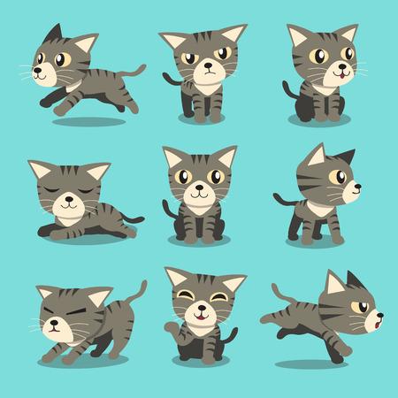 Ilustración de Cartoon character grey tabby cat poses - Imagen libre de derechos