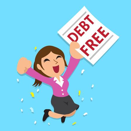 Vektor für Cartoon businesswoman with debt free letter - Lizenzfreies Bild
