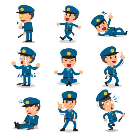 Cartoon policeman character poses