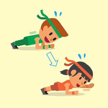 Ilustración de Cartoon a man and a woman doing plank with arm extension exercise step training - Imagen libre de derechos