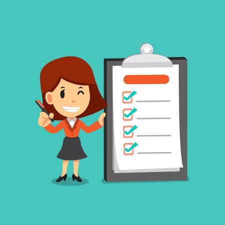 Ilustración de Vector cartoon businesswoman holding a pen and completed checklist on board - Imagen libre de derechos