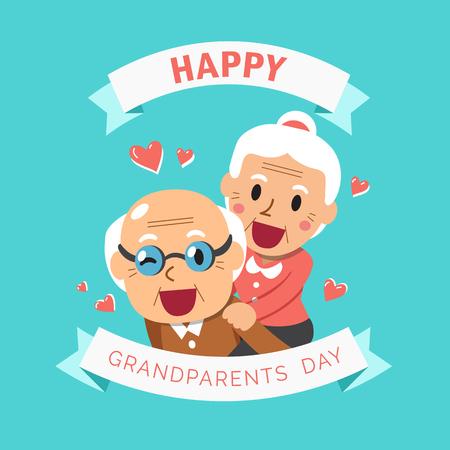 Illustration for Vector cartoon illustration of happy grandpa and grandma grandparents day - Royalty Free Image