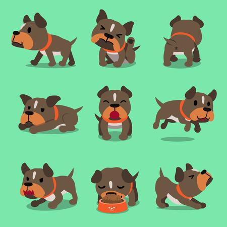 Illustration pour Cartoon character pit bull terrier dog poses for design. - image libre de droit