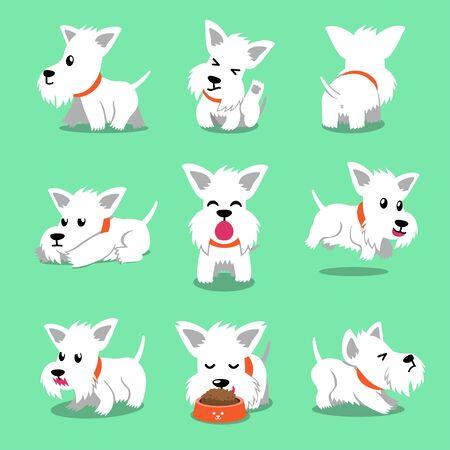 Illustration pour Cartoon character white scottish terrier dog poses for design. - image libre de droit