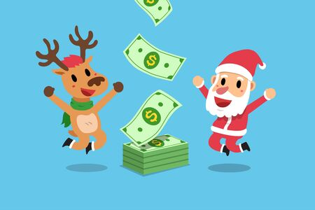 Illustration for Vector cartoon happy christmas santa claus and reindeer earning money for design. - Royalty Free Image