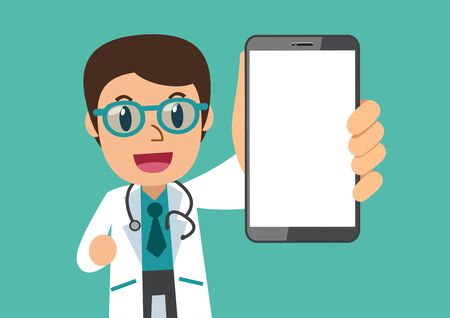 Illustration pour Cartoon character male doctor with blank screen smartphone for design. - image libre de droit