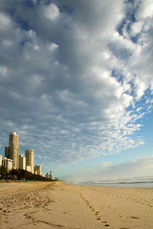 Surfers Paradise beach on the Gold Coast Australia looking North up the coast after sunrise.
