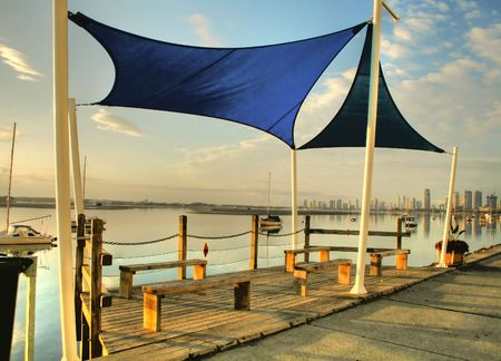 Shade sails over benches by the Broadwater on the Gold Coast Australia.