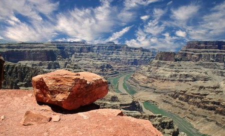 The view from Guano Point on the Grand Canyon West Rim overlooking the Colorado River.