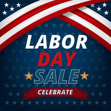Labor day sale promotion advertising banner design, Vector illustration.