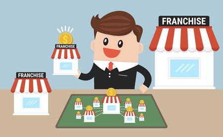 Photo pour Businessman want to expand his business, franchise concept. - image libre de droit