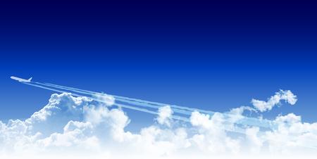 Airplane jet sky background
